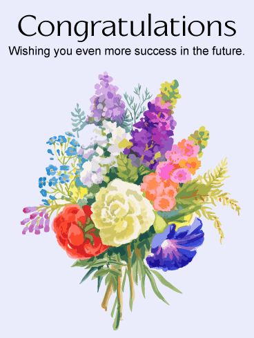 Flower Bouquet Congratulations Card | Birthday & Greeting ...