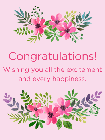 Pink Flowers Congratulations Card | Birthday & Greeting ...