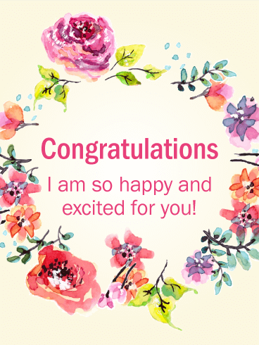 Flower Wreath Congratulations Card | Birthday & Greeting ...