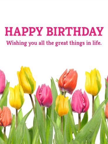 Pink And Yellow Tulip Birthday Card Birthday Amp Greeting