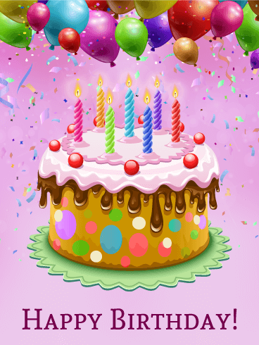Colorful Happy Birthday Cake Card Birthday & Greeting ...