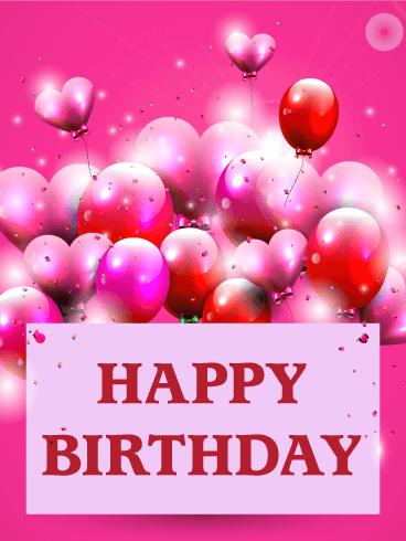 Pink Birthday Balloon Card  Birthday & Greeting Cards by Davia