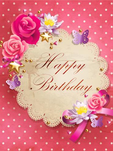 Pink Polka Dots Happy Birthday Card Birthday Amp Greeting