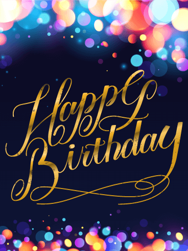 Colorful Glow Happy Birthday Card Birthday Amp Greeting