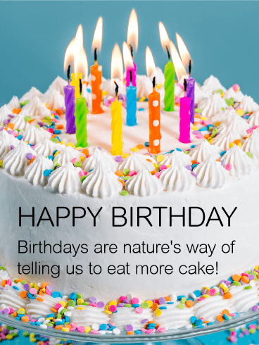 Eat More Cake Happy Birthday Wish Card Birthday Greeting