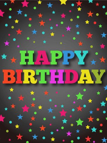 vivid stars happy birthday card birthday greeting