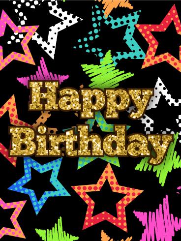 Superb Colorful Stars Happy Birthday Card Birthday Amp Greeting Personalised Birthday Cards Petedlily Jamesorg