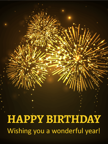 sparkling fireworks happy birthday card birthday