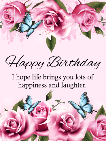 Blue Butterfly Happy Birthday Card Birthday Greeting Cards by