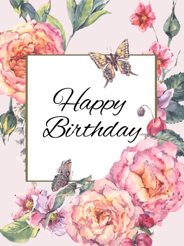 Elegant Flower Happy Birthday Card   Birthday & Greeting Cards by ...
