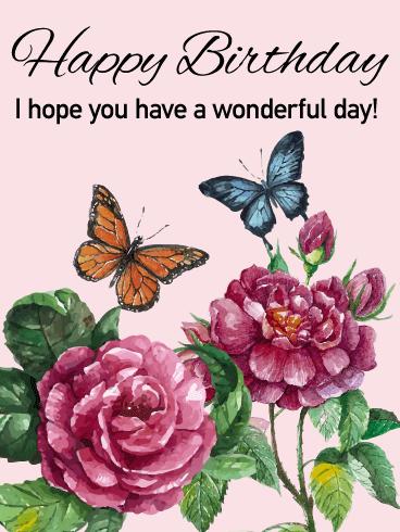 have a wonderful day elegant happy birthday card