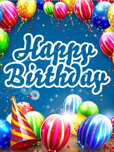 Outstanding Shinning Amp Colorful Birthday Balloon Card Birthday Funny Birthday Cards Online Unhofree Goldxyz