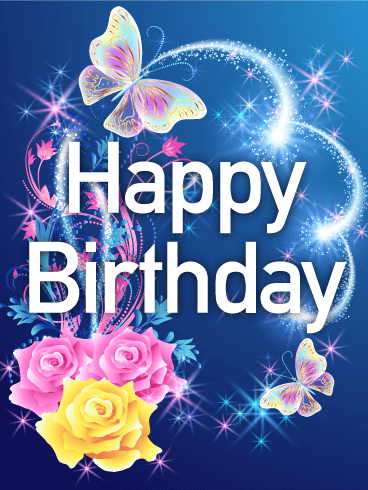 Shining Rose Amp Butterfly Happy Birthday Card Birthday