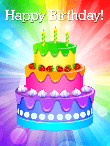 Birthday Cake Images Card : Rainbow Birthday Cake Card Birthday & Greeting Cards by ...
