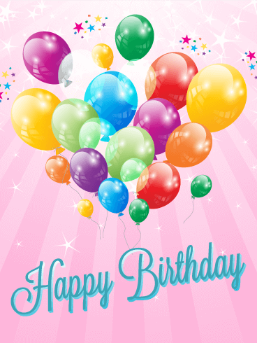 Shining Balloon Happy Birthday Card Birthday Amp Greeting