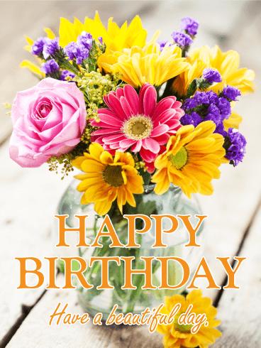 Fresh Flower Bouquet Happy Birthday Card Birthday