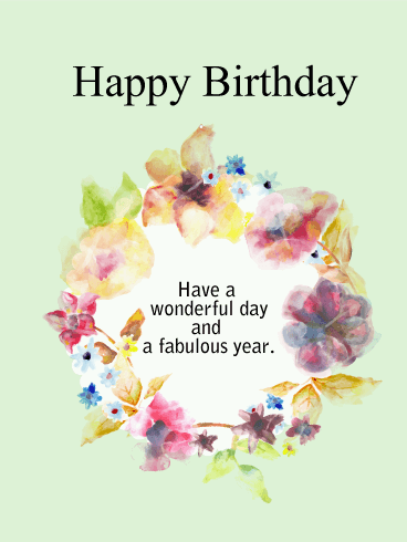 birthday flower wreath card  birthday  greeting cards by davia, Beautiful flower