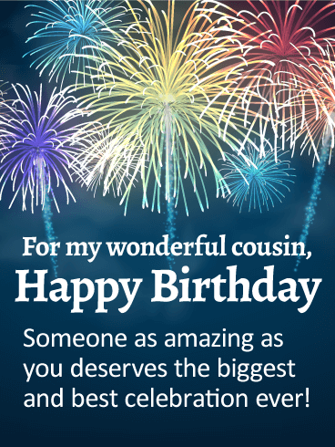 Another Gif From Fireworks >> You are Amazing! Happy Birthday Card for Cousin | Birthday & Greeting Cards by Davia