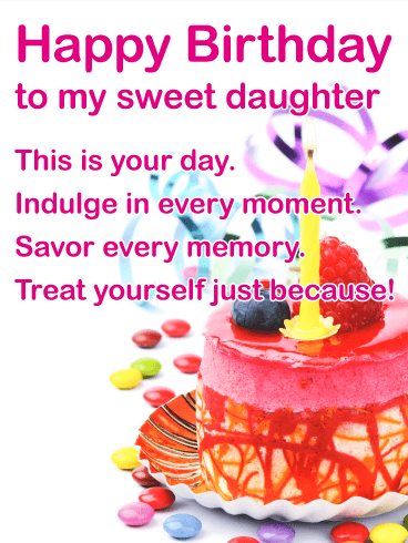 To My Sweet Daughter Happy Birthday Card Birthday