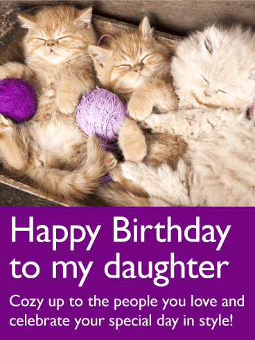 Adorable Cat Happy Birthday Card for Daughter Birthday