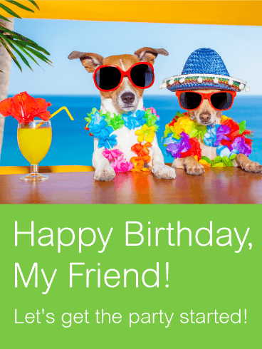 Two Best Party Friends Card Birthday Greeting Cards by Davia