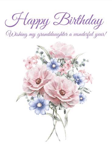 pretty flower happy birthday card for granddaughter