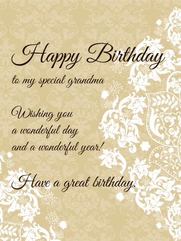 birthday card cards grandma elegant happy grandmother special greeting greetings wishes lady quotes holidaycardsapp davia