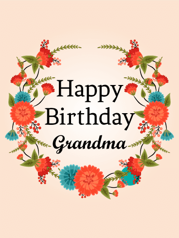 Cute Red Flower Birthday Card For Grandma Birthday