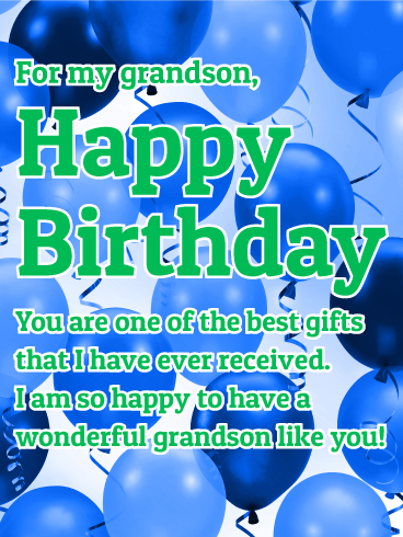 To A Wonderful Grandson Happy Birthday Wish Card