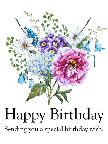 sending you a special birthday wish  birthday flower card, Beautiful flower