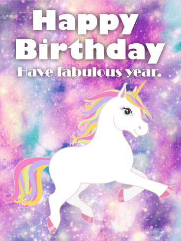 Galaxy Unicorn Happy Birthday Card Birthday Amp Greeting