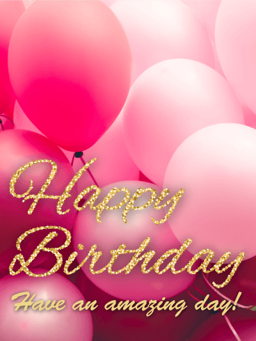 Pink Balloon Happy B Day Card Birthday Amp Greeting Cards