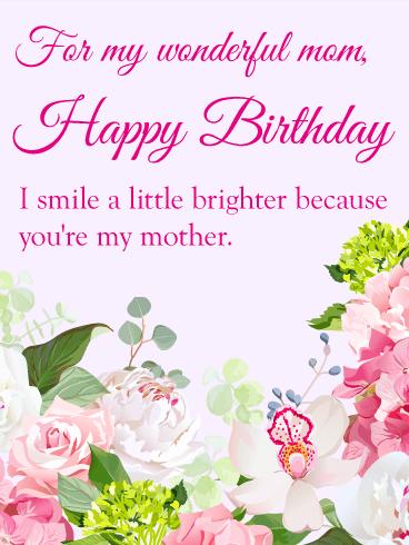 Gorgeous Flower Birthday Card for Mom Birthday Greeting Cards