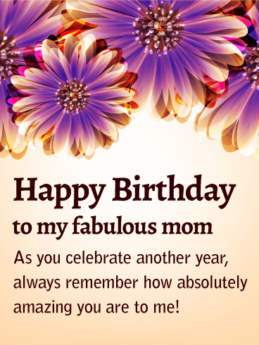 To My Fabulous Mom Purple Flower Birthday Card