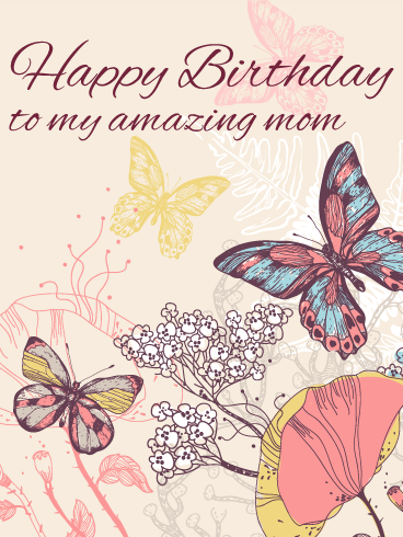 Elegant Butterfly Birthday Card for Mom   Birthday & Greeting ...