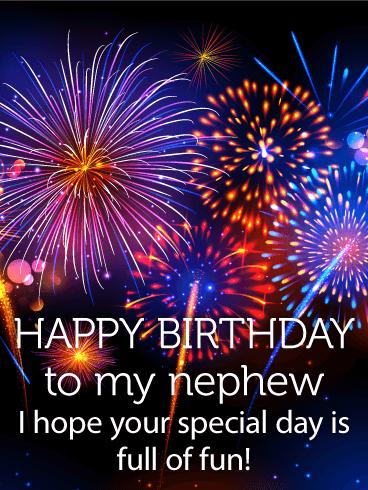 Colorful Birthday Fireworks Card for Nephew Birthday Greeting