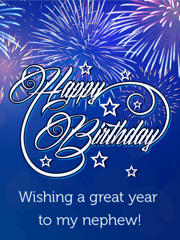Blue Birthday Fireworks Card For Nephew Birthday