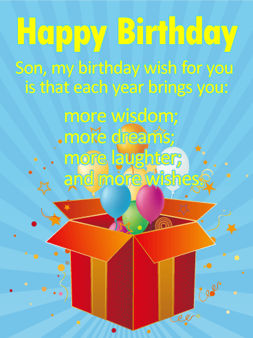 many more wishes for a son   happy birthday wishes card