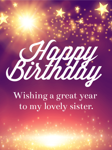 shining star happy birthday card for sister  birthday  greeting, Birthday card
