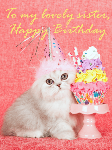 pretty cat happy birthday card for sister birthday