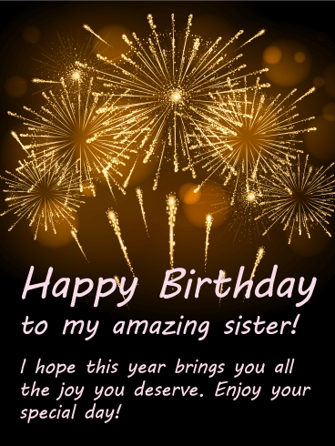 Bright Fireworks Happy Birthday Card For Sister Birthday