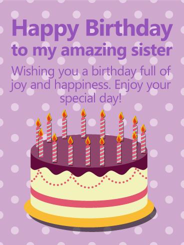 Purple PolkaDots Happy Birthday Card for Sister Birthday