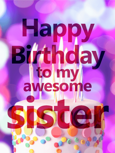Vivid Birthday Cake Card For Sister Birthday Amp Greeting