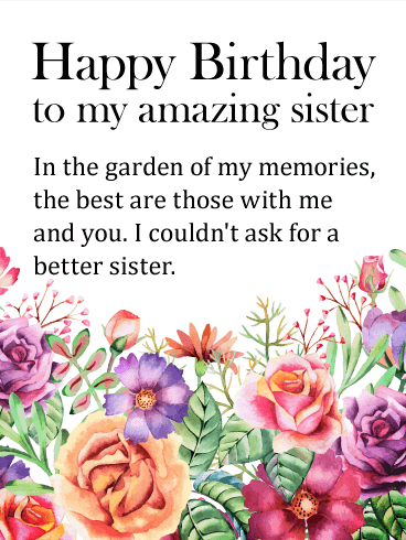 happy birthday letter to my sister in law gorgeous flower happy birthday wishes card for 19543