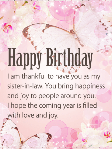happy birthday letter to my sister in law you bring happiness happy birthday card for in 19543