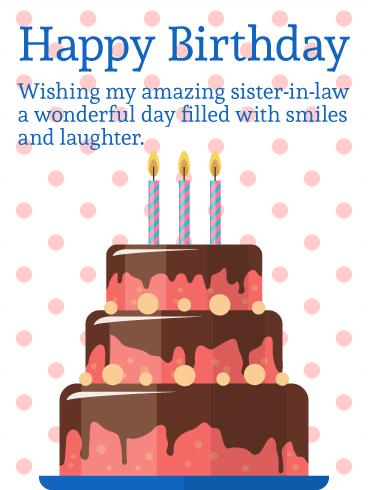 Birthday Cake Pic For Sister In Law : Polka-dot Birthday Cake Card for Sister-in-Law Birthday ...