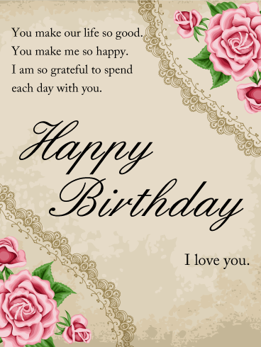 Elegant Pink Rose Birthday Card for Wife   Birthday & Greeting ...