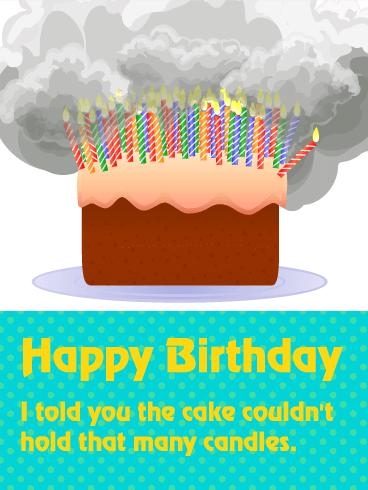 Too Many Candles Funny Birthday Card Birthday