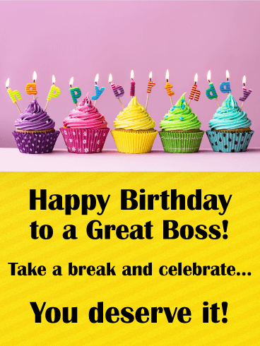 Rainbow Cupcake Happy Birthday Card for Boss | Birthday ... Happy Birthday Cupcake Pictures