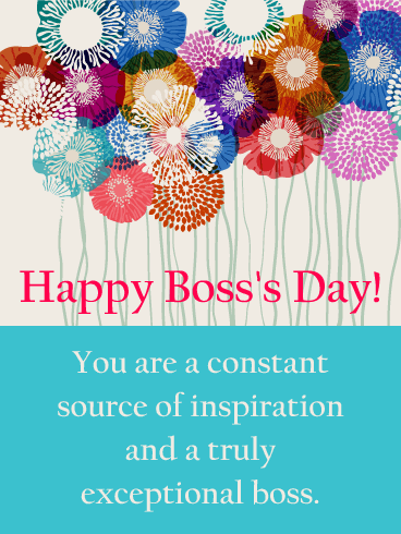 You are my Inspiration! Happy Boss's Day Card | Birthday ...